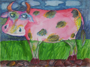 Painting by : Shefali Nayan / Pink Cow